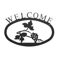 Grapevine Black Metal Welcome Sign Small