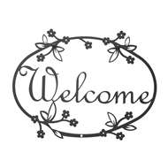 Floral Black Metal Welcome Sign Medium