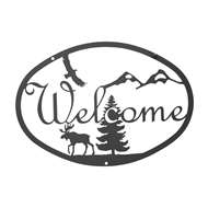 Moose & Eagle Black Metal Welcome Sign Medium