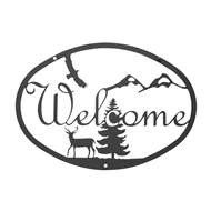 Deer Black Metal Welcome Sign Medium