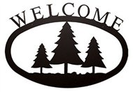 Pine Trees Black Metal Welcome Sign Large