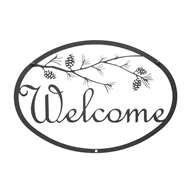 Pinecone Black Metal Welcome Sign Medium