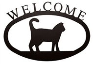 Cat Black Metal Welcome Sign -Large