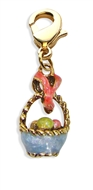Easter Basket Charm Dangle in Gold