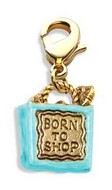 Born to Shop Bag Charm Dangle in Gold