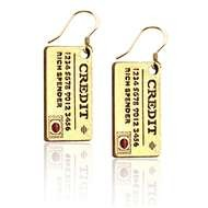 Credit Card Charm Earrings in Gold
