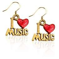 I Love Music Charm Earrings in Gold