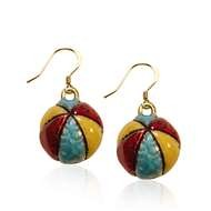 Beach Ball Charm Earrings in Gold