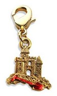 Sandcastle with Shovel Charm Dangle in Gold