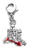 Sandcastle with Shovel Charm Dangle in Silver