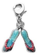 Flip Flops Charm Dangle in Silver
