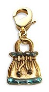 Drawstring Purse Charm Dangle in Gold