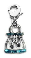 Drawstring Purse Charm Dangle in Silver