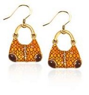 Reptile Purse Charm Earrings in Gold