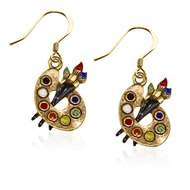 Artist Palette Charm Earrings In Gold