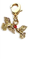 Doves Kissing Charm Dangle in Gold