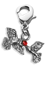 Doves Kissing Charm Dangle in Silver