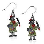 Artist Charm Earrings In Silver