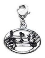 Disc with Musical Notes Charm Dangle in Silver