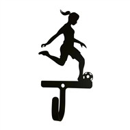 Womans/Girls Soccer Black Metal Wall Hook -Small