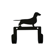 Dachshund Black Metal Leash and Collar 2 Hook Holder