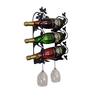 Grapevine 3-Bottle Rack - Black-Wall Mount Style