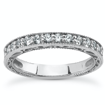 Immaculate Elegance Hand Engraved Micropavé Diamond Ring 3/8 ct. tw.
