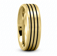Fancy Carved Wedding Ring in Yellow Gold 7 mm High Polished Finish