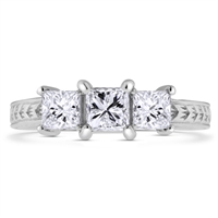 Princess Cut Three Stone Diamond Engagement Ring in 18k White Gold 1.12 ct. tw.