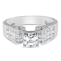 Asscher & Princess Diamond Engagement Ring  in 14k White Gold 1.88 ct. tw.