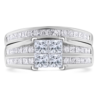 Princess Cut Diamond Engagement Promise Ring + Matching Band  in 14k White Gold 1.20 ct. tw.