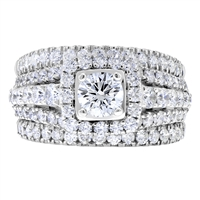 Round Diamond Engagement Ring + 2 Matching Bands Set in 14k White Gold 2.60 ct. tw.