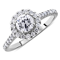 Round Halo Round Diamond Engagement Ring in 14K White Gold 1.10 ct. tw.