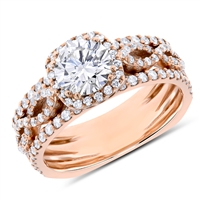 Round Cut Vintage   Diamond Engagement Ring in 14k Rose Gold 1.61 ct. tw.