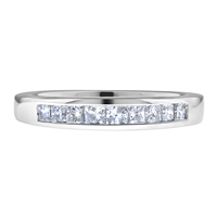 Channel-Invisible-Set Princess Cut Diamond Matching Wedding Band Ring in White Gold 14K 1/2 ct. tw.