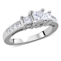 Princess Cut Three Stone Diamond Engagement Ring in 14k White Gold 1.10 ct. tw.
