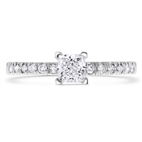 Pave Classic Princess Cut Diamond Engagement Ring in 14k White Gold 0.51 ct. tw.