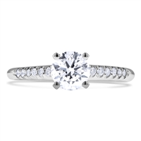 Scalloped Pave Round Cut Diamond Engagement Ring Classic 4-Prongs in 14k White Gold 0.77 ct. tw.