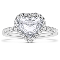 Heart Shape Diamond Engagement Ring Scalloped Pave in 14k White Gold 1.70 ct. tw.