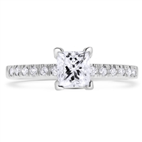 Pave Classic Princess Cut  Diamond Engagement Anniversary Ring in 14k White Gold 0.95 ct. tw.