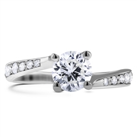 Twisted Shank 4-Prongs Round Cut Diamond Engagement Ring in 14k White Gold 1.00 ct. tw.