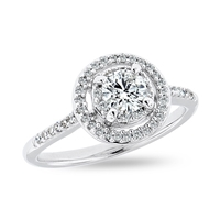 Halo Vintage Round Diamond Engagement Ring in 14k White Gold 0.54 ct. tw.