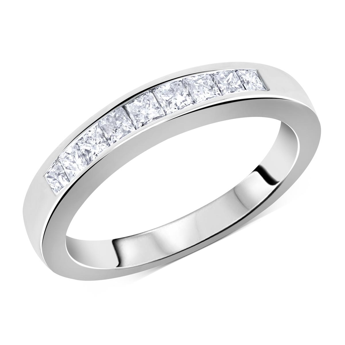 Matching Diamond Wedding Band Channel Invisible Set Princess Cut