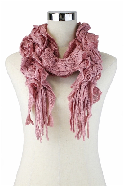 DZ Pack Assorted Color Knitted Fringe Ruffle Scarves