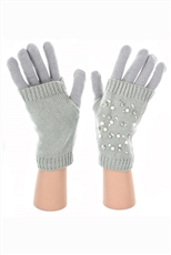 Dz Pack Assorted Color Pearl and Crystal Accent Double Layer Gloves