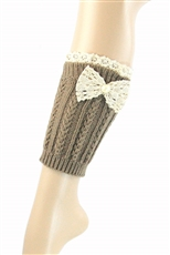 DZ Pack Assorted Color Lace Ribbon Accent Knit Leg Warmers