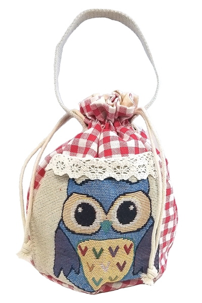 A Dozen Assorted Color Plaid Pattern Owl Pouch