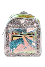 Glitter Accent See Thru Hologram Chic Backpack