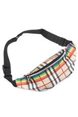 A Dozen Assorted Color Plaid Pattern Fanny Pack