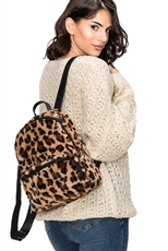 Soft Fur Leopard Backpack